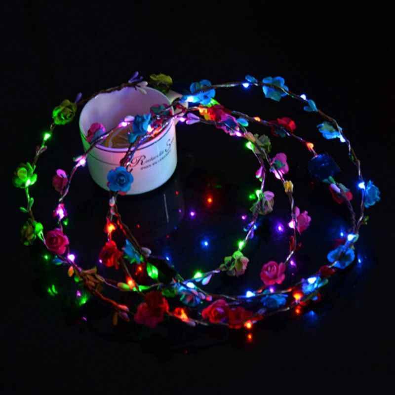 สวยงาม LED Light มงกุฎดอกไม้ LED Light Up พวงหรีด Hairband Garlands ผู้หญิงฮาโลวีนเรืองแสงพวงหรีด