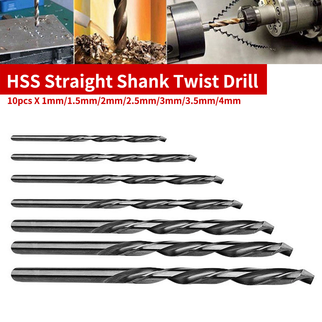 1mm/1.5mm/2mm/2.5mm/3mm/3.5mm/4mm 10pcs HSS Mini Drill Twist Drill Bits Set Straight Shank For PCB/Thin Aluminum/Iron Sheet