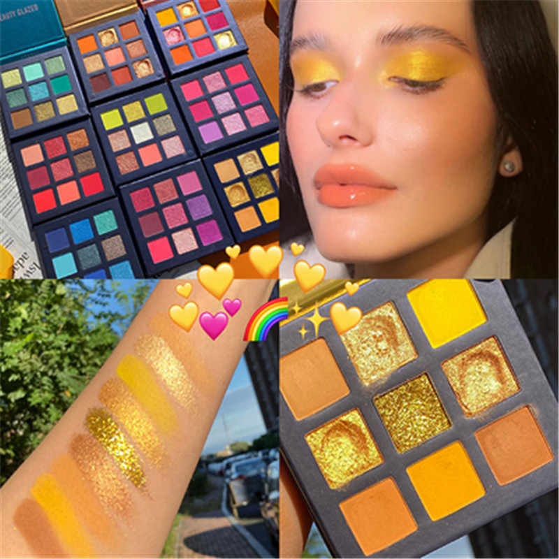 Beauty Geglazuurd Neon Eyeshadow Palette Holografische Shiny Matte Glitter Pigment Oogschaduw Palet Metallic Diamond Make-Up Palet