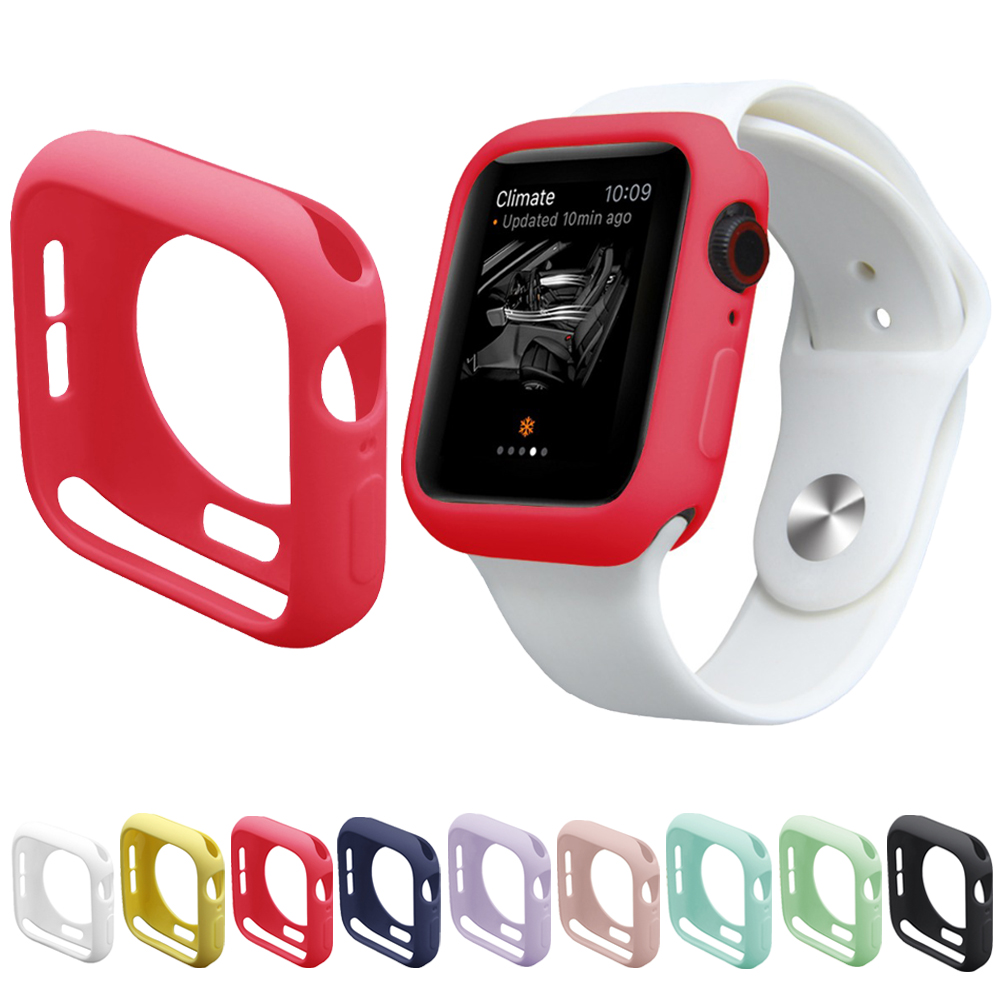 Candy Color Case for iWatch Series 4 44/40mm Silicone Case TPU Bumper Fall Resistance For <font><b>Apple</b></font> <font><b>Watch</b></font> <font><b>3</b></font> 2 1 42mm 38mm Protector image
