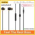 Черные наушники Realme Buds 2 с усилением басов, 11,2 мм, двойные Встроенные магниты, проводные наушники 3,5 мм, спортивные музыкальные игры, наушники...