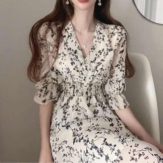 Ретро платье с цветочным рисунком для женщин Элегантный шифон французский вечерние платье с буффами на рукавах с v-образным вырезом миди пл...