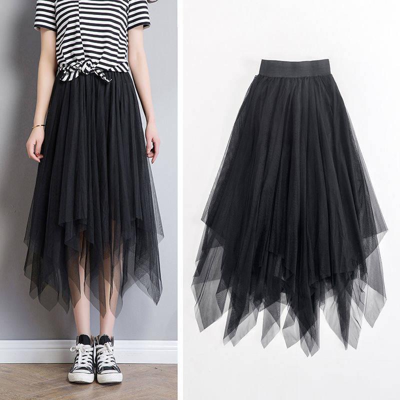 Summer Half Length Elastic Skirt Black Pink Mesh Skirts For Womens Skirt Lace Tulle Bouffant Puffy Skirt Fashion Tutu Skirts