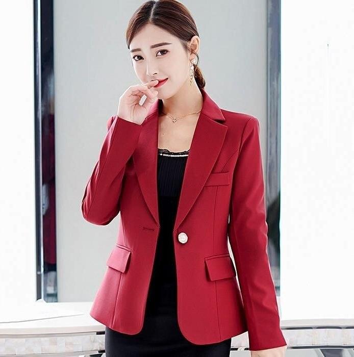 Solid Office Jackets Women Fashion Elegant OL Lady Blazers Coats Women Business Single Button Jackets Female Ladies Formal Wear