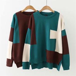 Plus größe groen & bruin patchwork herfst winter women truien O-hals Gebreide casual dames oversize trui wol vrouwelijke