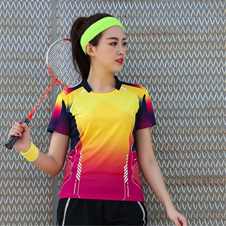 Быстросохнущая, впитывающая пот и дышащая рубашка для бадминтона, топ для соревнований, тренировочный костюм для бега, мужской и женский короткий рукав - Цвет: 1817Bfemale1