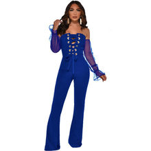 Sexy Lace Up Bandage Jumpsuit Vrouwen Lente Slash Hals Off Shoulder Lange Mouwen Party Club Rompertjes Womens Jumpsuit Wijde Pijpen broek(China)
