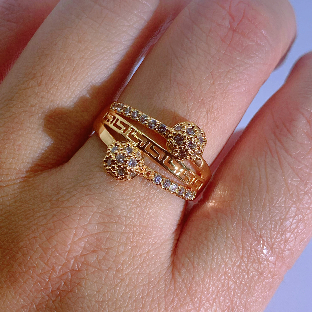 LUALA White Color Cubic Zirconia Unique Ring for Women 585 Rose Gold Geometric Finger Jewelry Party Gifts No Fade 1