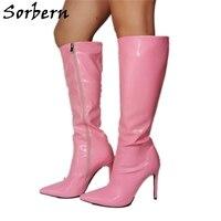 Sorbern Baby Pink Knee High Boot Women Pointy Toes Zip Up Ladies High Heel Shoes Transwomen Big Size Boots Drag Queen Custom