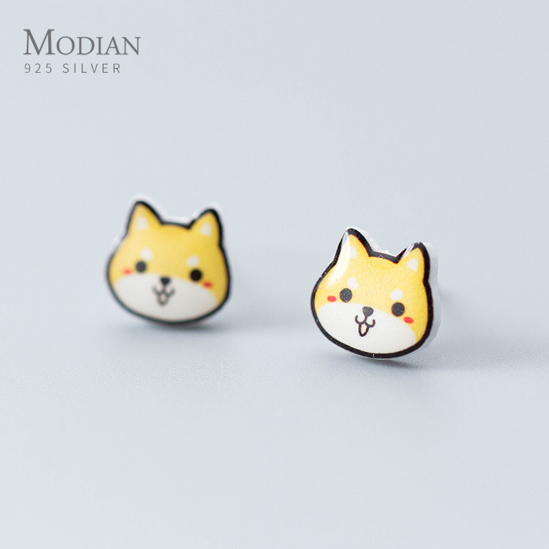 Modian Real 925 Sterling Silver Cute Animal Little Dogs Stud Earrings For Women Female Hypoallergenic Stud Jewelry For Girl Gift