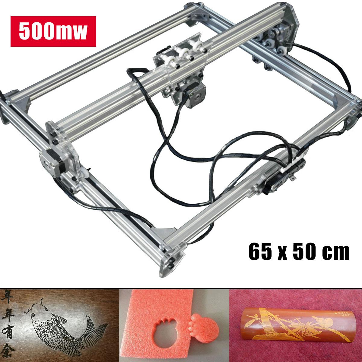 65x50cm 500mw DC 12V Laser Engraving Cutting Machine DIY Engraver Desktop CNC 2Axis Wood Router/Cutter/Printer For Marking Logo