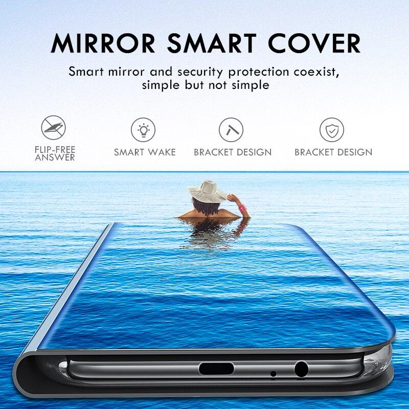 Capa de espelho de enchimento de smartphone, capa de enchimento de espelho inteligente para xiaomi redmi note 8 pro 7 8t 7a 8a k30, capa de visão clara mi cc9 note 10 9t pro 9 se 8 a2 lite a3 coque 4