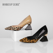 цены ROBESPIERE Strange Heels Shoes New Pointed Toe High Heels Leopard Print Women Pumps Quality Patent Leather Lady Dress Shoes A106