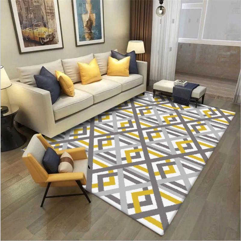 Sofa Coffee Table Mat Nordic Geometric Bright Yellow Gray Cross Line Carpet Carpets For Living Room Carpet Kids Room