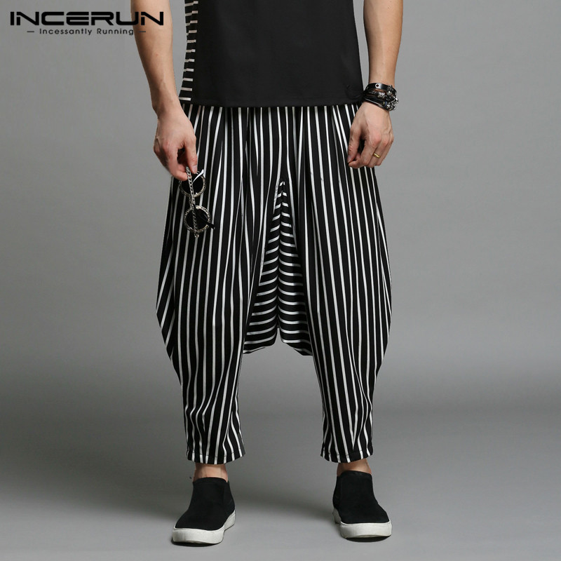 INCERUN Stylish S-5XL Men Harem Pants Irregular Striped Patchwork Mens Trousers Big Drop Crotch Dance Hiphop Male Trousers