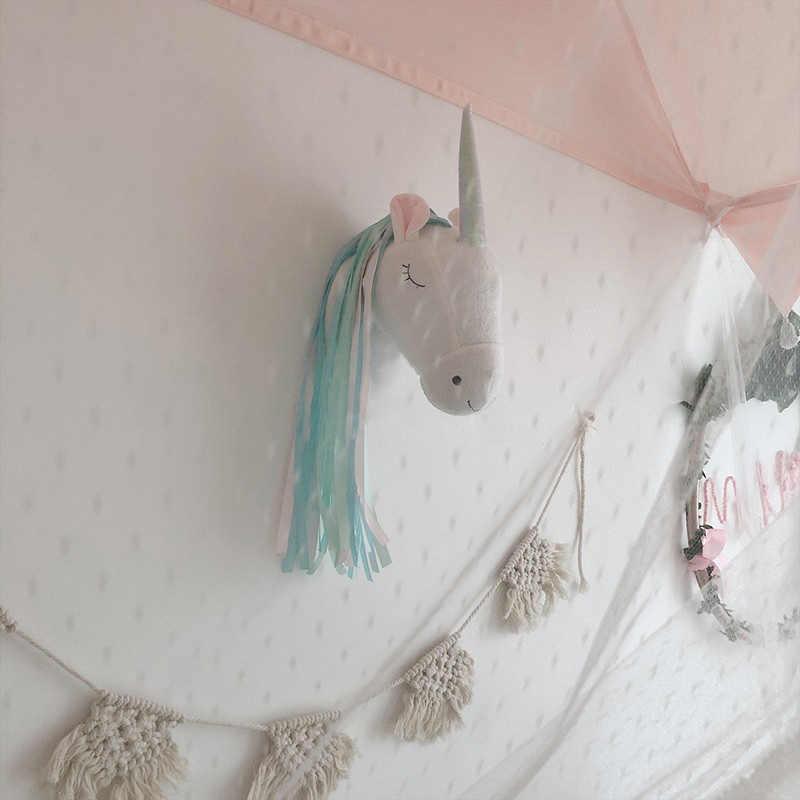 ثلاثية الأبعاد الحيوان رئيس ديكور جدار غرفة الاطفال الديكور معلقة الحيوانات المحشوة يونيكورن ألعاب من نسيج مخملي دمية هدايا الأطفال غرفة نوم اكسسوارات
