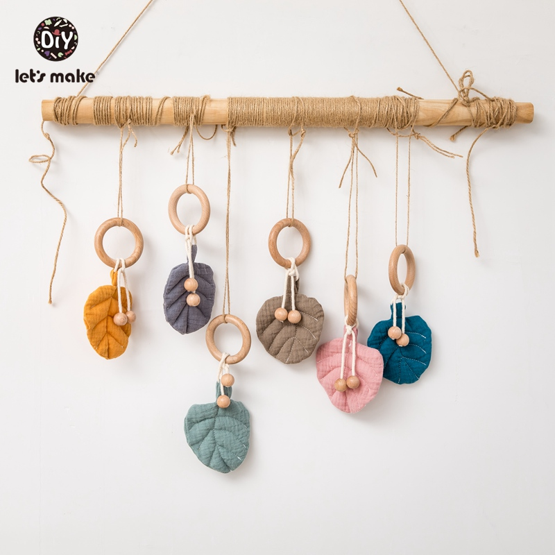 Let's Make Baby Teethers 1pc Cotton Leaves Shape Pendant Beech Wooden Teething Ring Wood Beads Baby Bed Hanging Rattles Toys