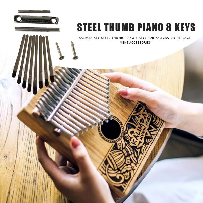 8 Keys Kalimba DIY Set Steel Thumb Piano Lettering Keyboard Shrapnel Kalimba Replacement Musical Instrument Accessories