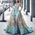 High End Arabic Chic Lace Mermaid Evening Gowns Nude Tulle Long Formal Party Dresses With Puffy Detachable Train Prom Gowns