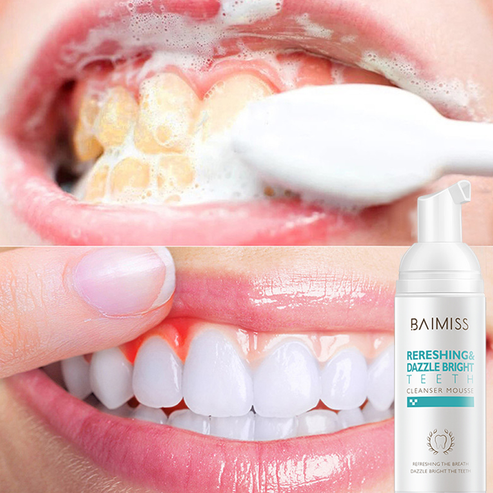 BAIMISS Teeth Cleaning Mousse Tooth Whitening Foam Bubble Toothpaste Oral Hygiene Stains Spots Remover Teeth Cleaner Dental Tool