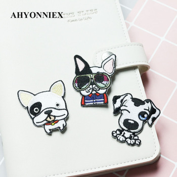 AHYONNIEX Cute Dog Embroidery Patches for Girls Bag Iron On Patches for Clothes Small Glue Patch for Kids Clothes Designer image