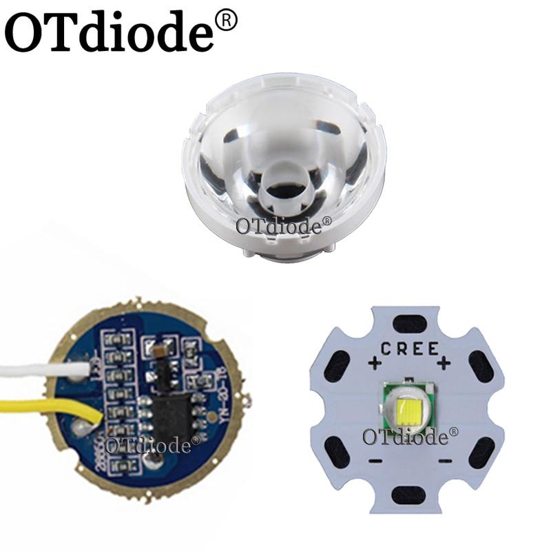 Cree XM-L LED T6 White Light With 20mm Star Pcb+ 3.7V 5modes Led Driver +T6 15degree Led Lens With Base Holder Kit
