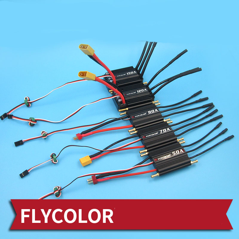 1PC <font><b>Flycolor</b></font> 50A 70A 90A 120A <font><b>150A</b></font> <font><b>ESC</b></font> Water-cooled Brushless <font><b>ESC</b></font> Backword/Forward 2S 6S Waterproof Speed Controller for RC Boat image
