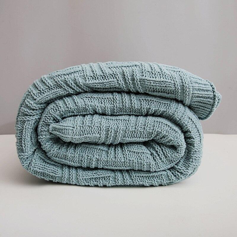 Скандинавское модное женское кашемировое Двухслойное одеяло для офиса, вязаное зимнее теплое одеяло для кровати, дивана - 3