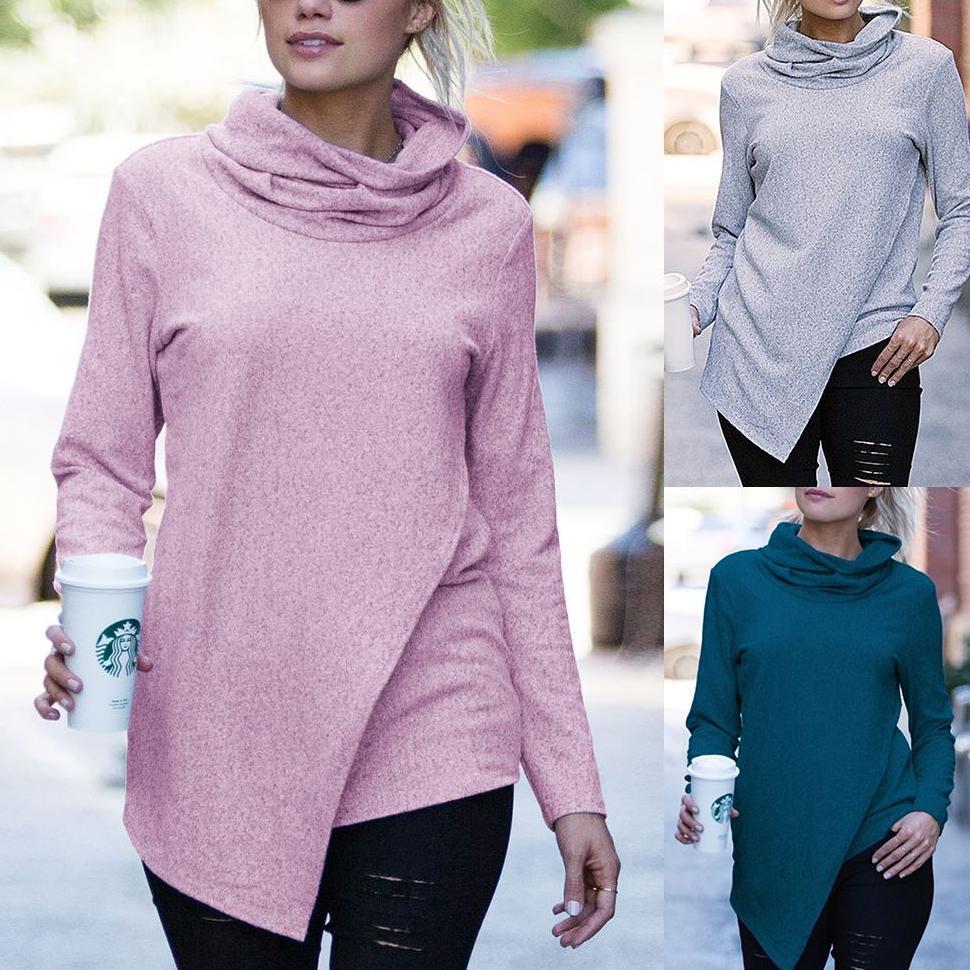 CHUQING 2019 New Autumn Fashion Womens Casual Korean Version of the High Collar Sweatshirt