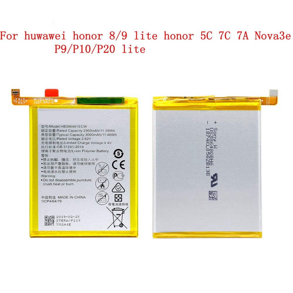 For Hua Wei Phone Battery HB366481ECW For Huawei Honor 8 Honor 8 Lite Honor 5C Ascend P9 Huawei P10 Lite  P9  Lite 2900mAh