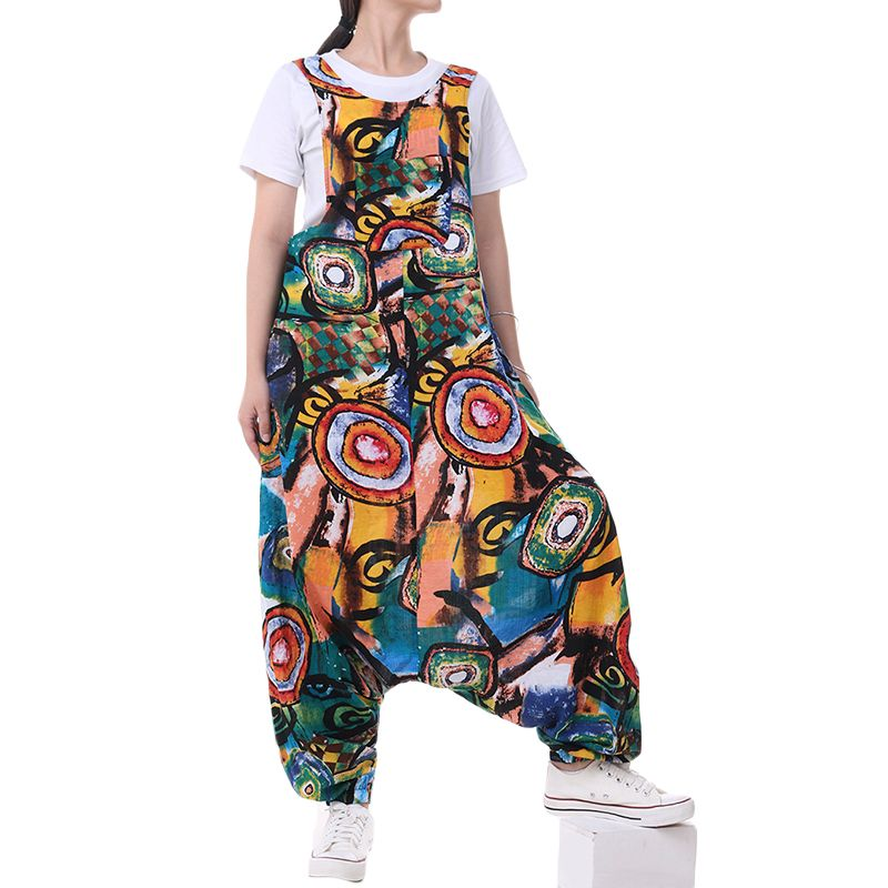L 5XL ZANZEA Summer Rompers Women Sleeveless Printed Overalls Vintage Floral Harem Jumpsuits Pants Femme Playsuits Dungarees
