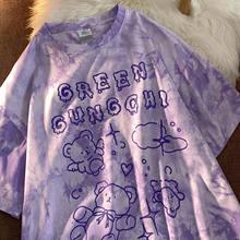 Algodão bonito urso tshirt streetwear verão oversized t camisa das mulheres harajuku manga curta topos camiseta hip hop tie tingido tshirt engraçado