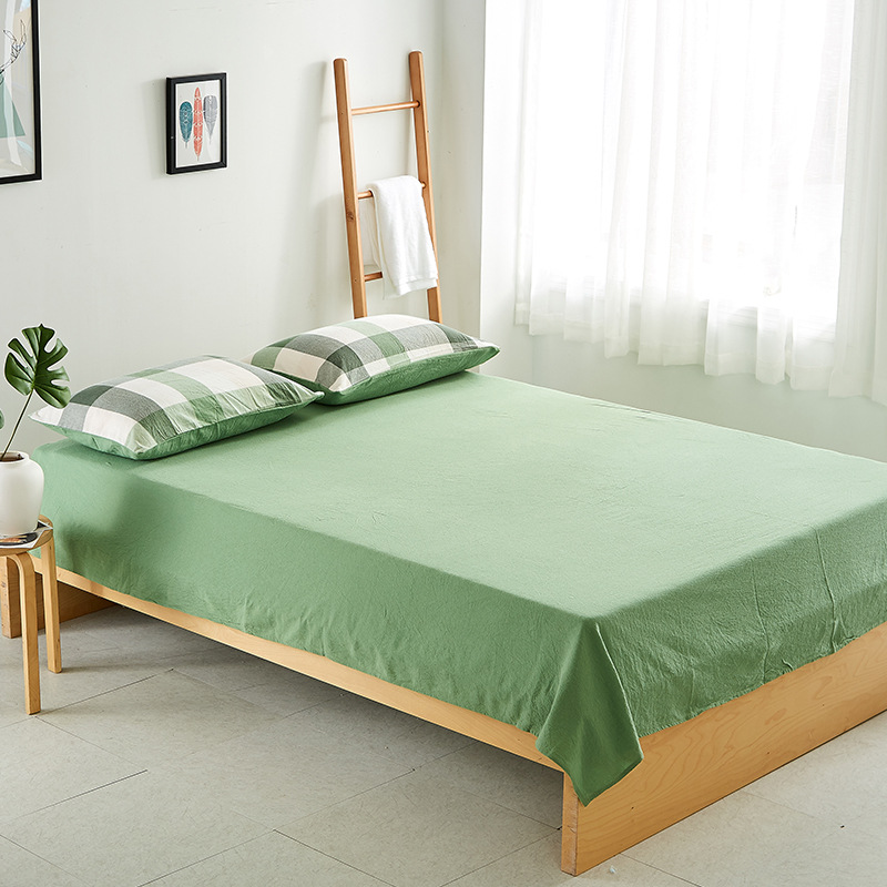 Japanese Style Simple-Style Washed Cotton Sheet Bedspread Sheet 100% Cotton Bedding 1.5 1.8