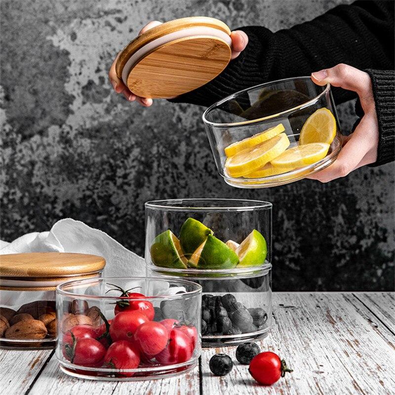Heat-Resistant Stackable Glass Storage Jar Food Sealed Fresh-Keeping Container Multi-Layer Kitchen Transparent Fruit Salad Bowl