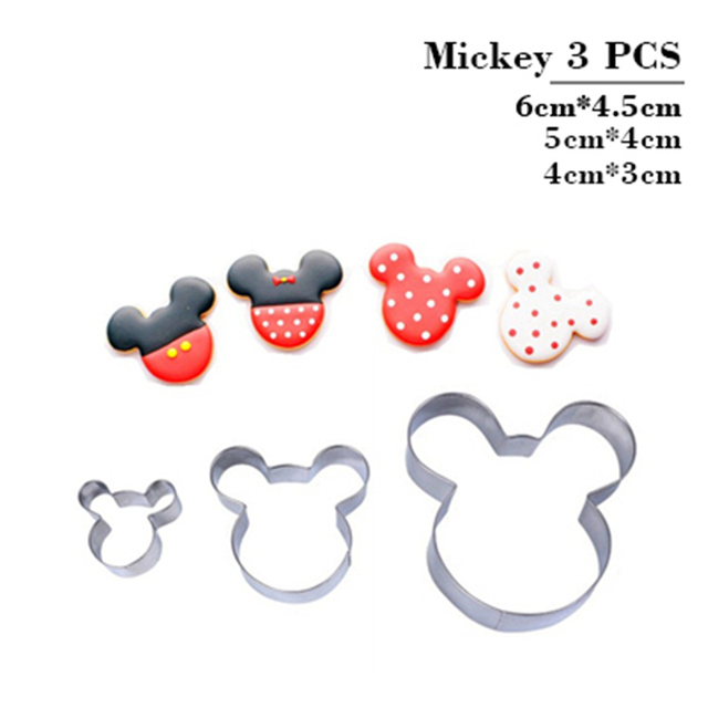 3pcs Mickey Mouse Cookie Cutter Set