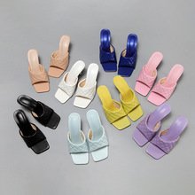 2020 Summer Square toe Women slippers Fashion Thin heeled Ladies Mules Elegant Female High heels Outside Slides Women Sandals 42