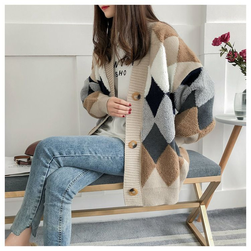 Cardigan sweater spring and autumn retro French lazy style knit cardigan women's mid-length net red cardigan jacket 6