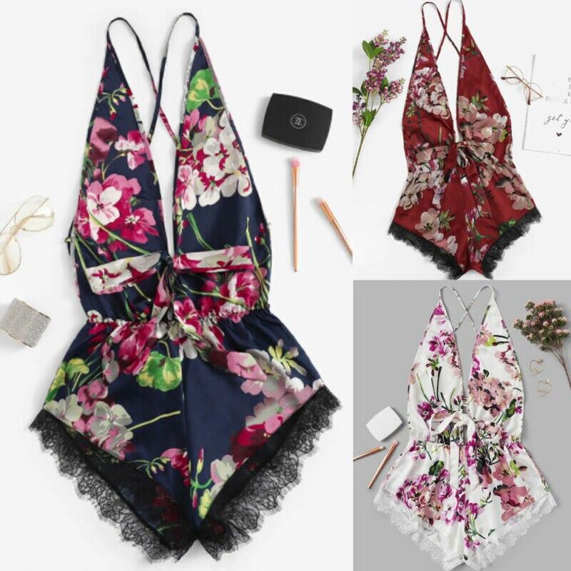Sexy Women's Fashion Lace Deep V Sling Collar Nightwear Mini Dress Babydoll Underwear Lingerie Sleepwear