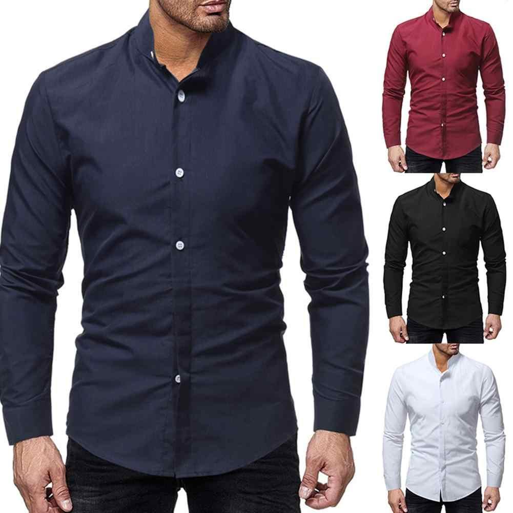 新しいビジネス男性ソリッドカラーは長袖スリムフィットシャツ