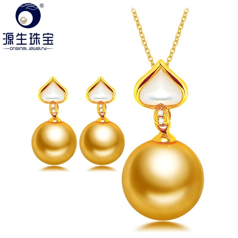 [YS] Au750 18K or massif 9-11mm naturel mer du sud pendentif collier et boucle d'oreille ensemble de bijoux fins