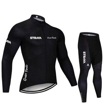 2019 strava outono manga longa camisa de ciclismo conjunto bib calças ropa ciclismo roupas de bicicleta mtb camisa uniforme roupas masculinas 23