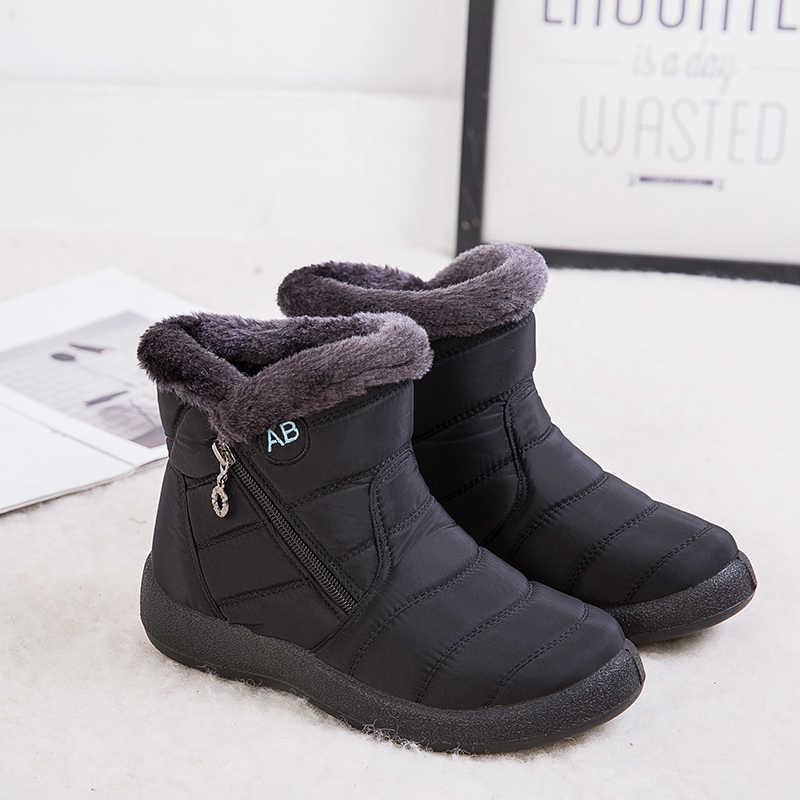 Artı boyutu 35-43 2020 kış yeni kar botları kadın tüp kalın peluş su geçirmez pamuk çizmeler yan fermuar kadın çizmeler 35-43