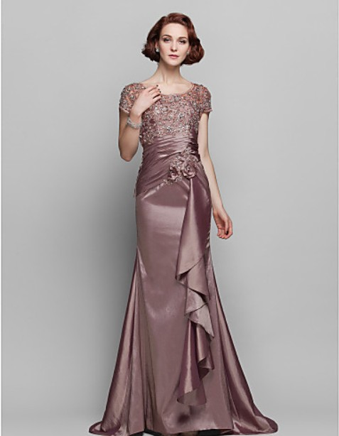 Dresses New Fashion 2014 Vestidos De Fiesta Special Short Sleeves Long Casual Dress Lace Elegant Mother Of The Bride Dresses