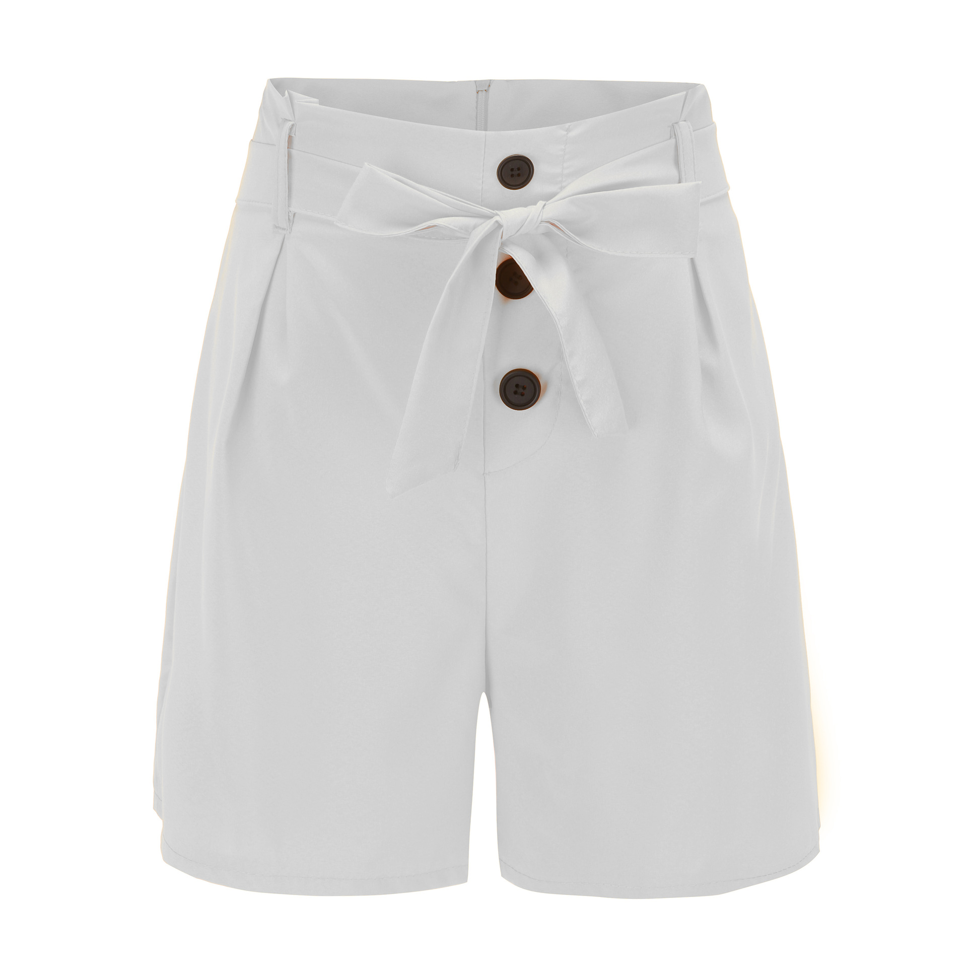 ONCE Women Shorts High Waist Buttons Sashes Elegant  Summer Zip-Up Skinny Shorts Solid Plus Size Pockets Summer Casual Shorts 10