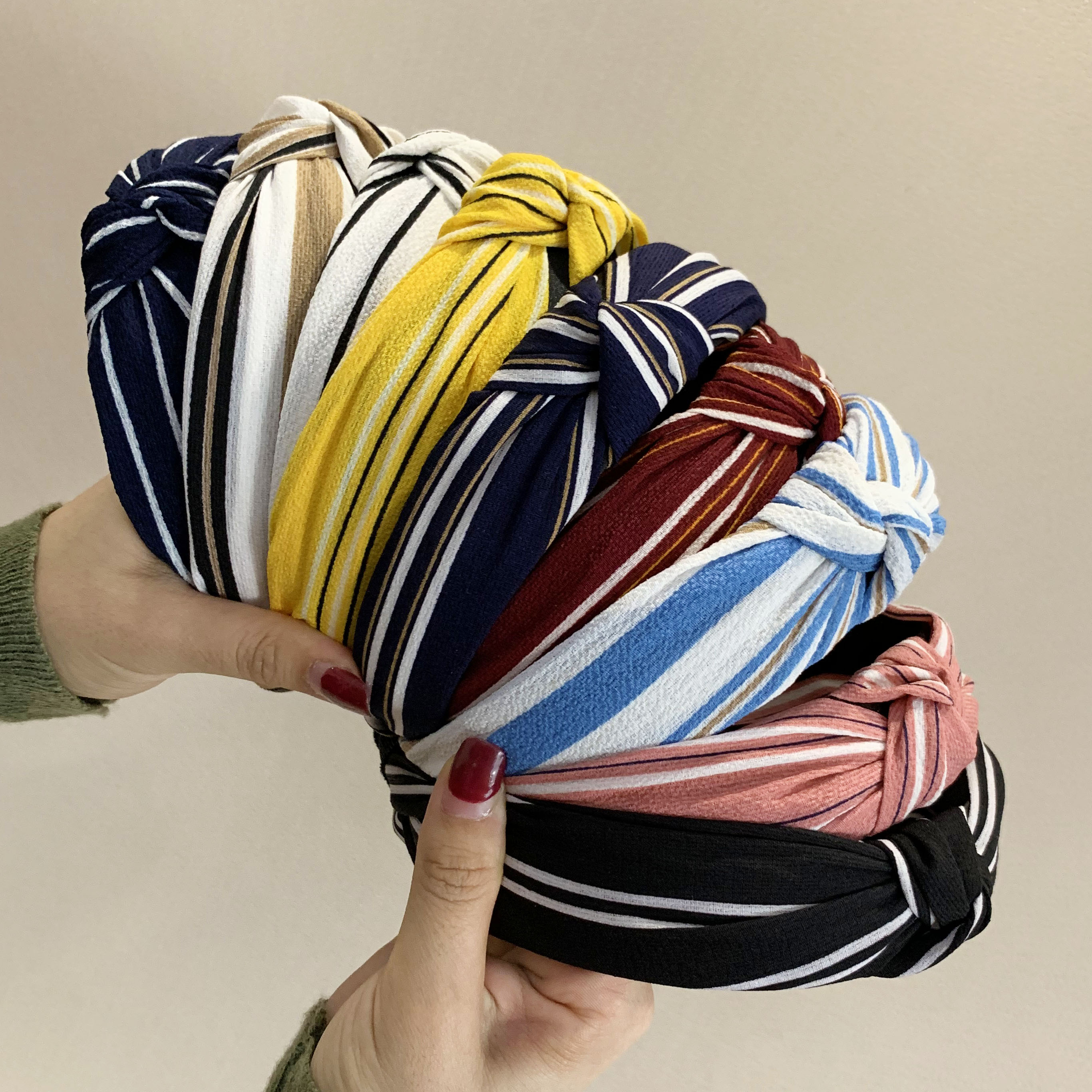 Chen Yan  New Stripe Headband Fashion Chiffon Headbands Knot Cross Hairband FG7