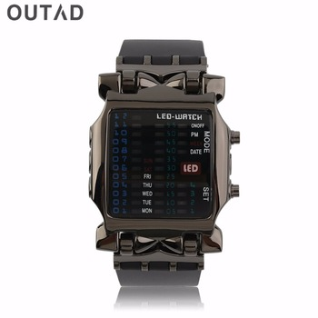Outdoor Sport LED Digital Binary Watches Popular Square Dial Uisex  Rubber Band Casual Wrist Watch relogio
