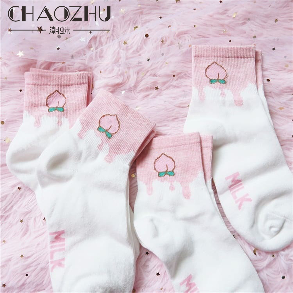 CHAOZHU Milk Fruits Peach Apple Cartoon Lovely Girl Funny Cute Women Socks Ukraine Calcetines Skarpetki Kawaii Chaussette Sokken