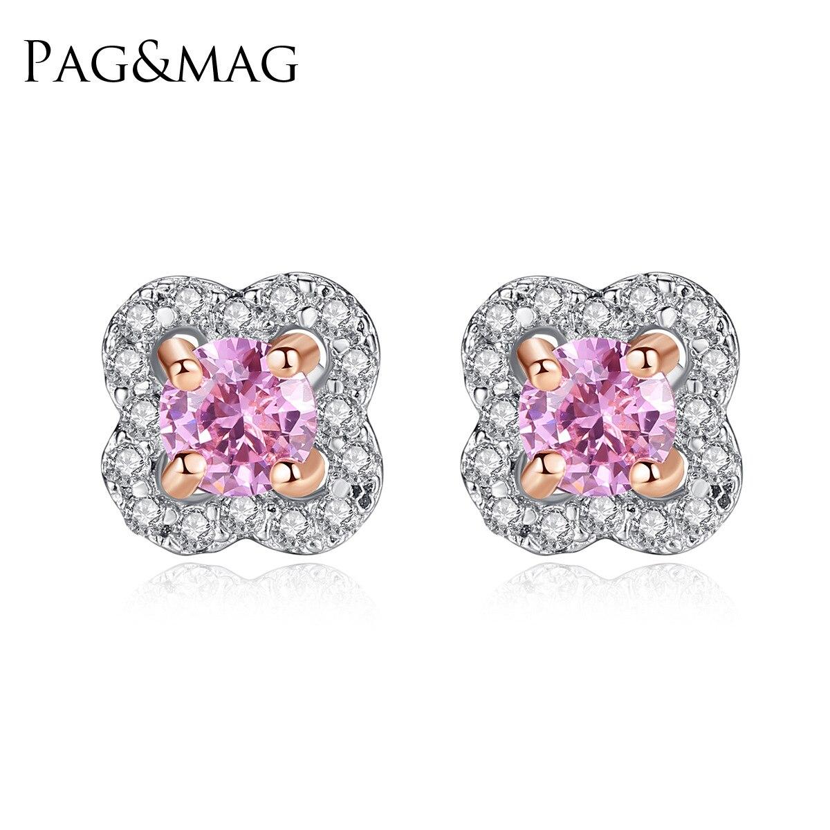 PAG & MAG AAA zircon fleur S925 pur argent oreille clou exquis mode dame boucle d'oreille bijoux en argent