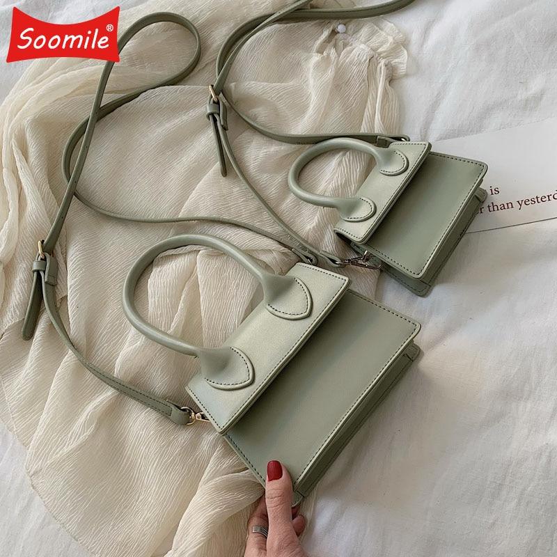 Soomile Fashion Solid Color PU Leather Crossbody Bags For Women 2019 Female Shoulder Messenger Bag Girls Lady Purses Handbag New