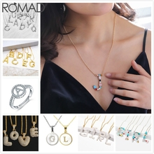 ROMAD Initial Letter Necklace Women Pendant Crystal Sweater Chain Girl Birthday Hiphop Jewelry R5